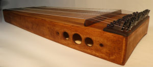 Monochord Monocorp Monocordio Mapple wood, Jurema ayahuasca color, five round holes, wood bridge, turquoise body monocord